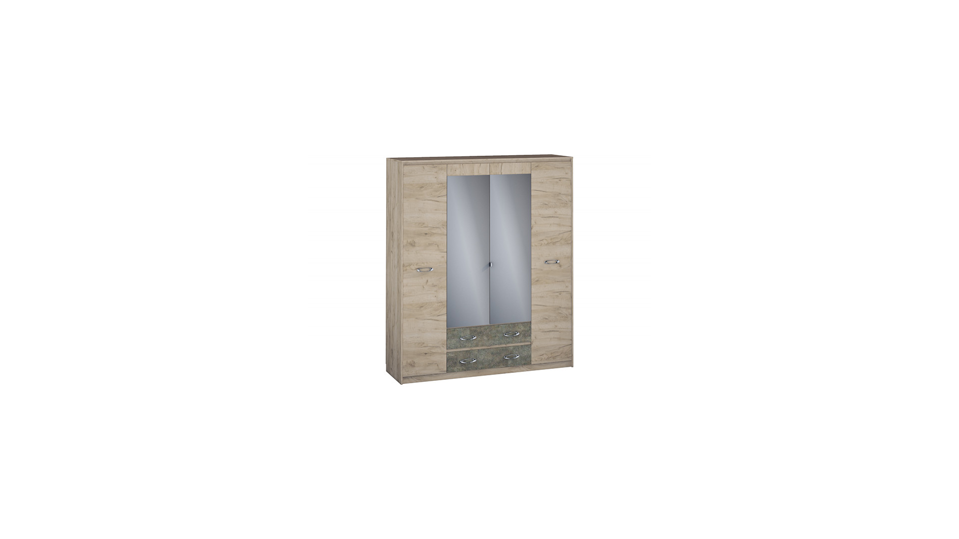 Шкаф  Дакота 4х ст. с ящиками (540) ЛДСП Серый Крафт/Тиз Серый