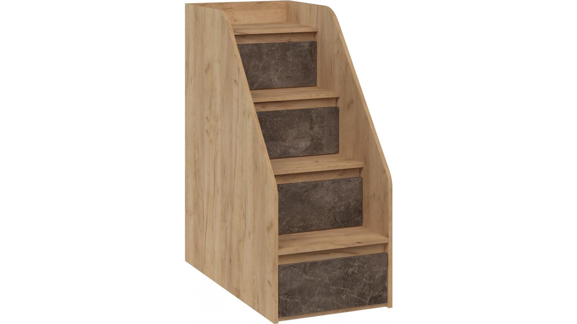 Лестница  Ральф приставная с ящиками Дуб золотой Крафт/Ателье темное