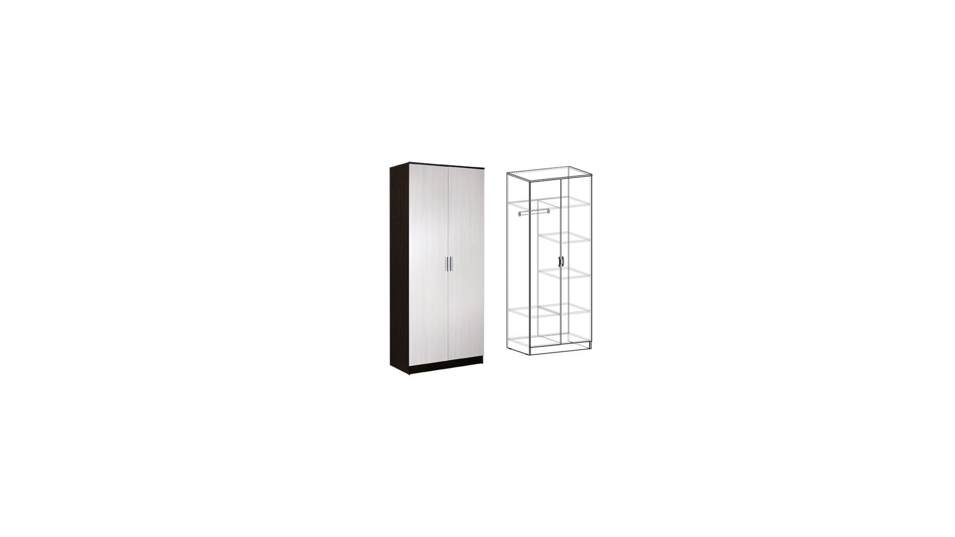 Шкаф 2-х створчатый комбинированный Светлана НОВЫЙ Венге/Дуб молочный