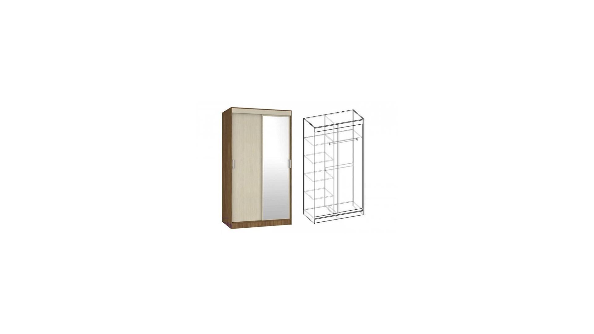 Шкаф-купе 2-х створчатый с ящиками 1350 с 1 зеркалом Светлана Ясень шимо темный/Ясень шимо светлый