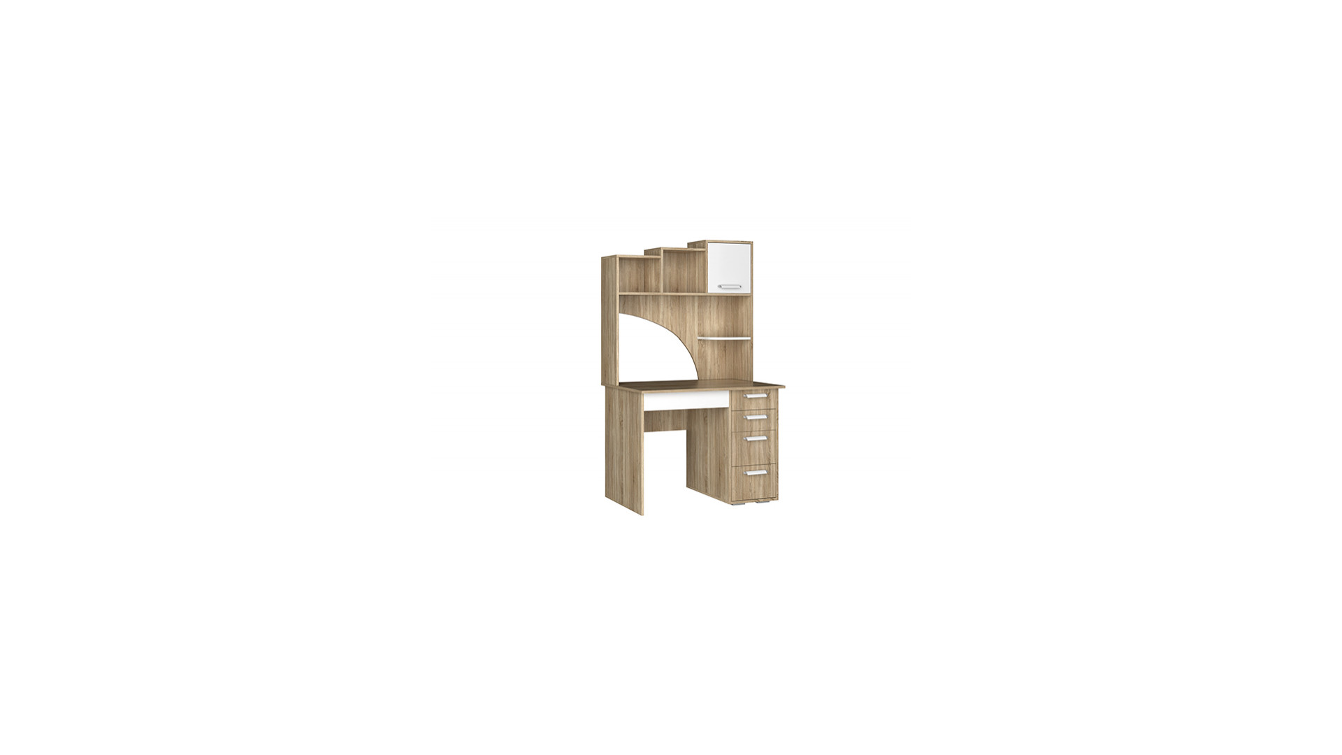 Стол компьютерный №6 Дуб Сонома/Белый фон
